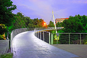 Fineartamerica.com Posters - Liberty Bridge In Downtown Greenville SC at Sunrise Poster by Willie Harper