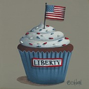 4th Of July Painting Metal Prints - Liberty Cupcake Metal Print by Catherine Holman