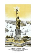 Lady Liberty Mixed Media Prints - Liberty Enlightening The World  Print by War Is Hell Store