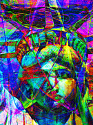 Fourth Of July Art Prints - Liberty Head Abstract 20130618 Print by Wingsdomain Art and Photography