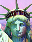 Fourth Of July Art Posters - Liberty Head Painterly 20130618 Poster by Wingsdomain Art and Photography