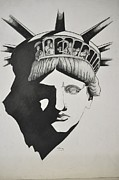 Liberty Drawings - Liberty Head with people by Glenn Calloway