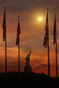 Icons Prints Framed Prints - Liberty Island Sunset Framed Print by Tom York