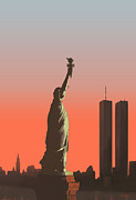 Nyc Digital Art Originals - Liberty by Mike Linman