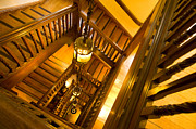 Wooden Stairs Digital Art Prints - Liberty Stairwell Print by Donald Davis