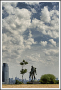 Hi-rise Framed Prints - Liberty State Park Statue Framed Print by Geri Scull