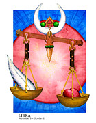 Signs Of The Zodiac Painting Metal Prints - Libra Metal Print by Michael Baum