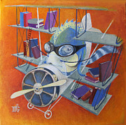 Library Paintings - Librarian Pilot by Marina Gnetetsky