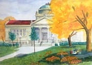 Library Paintings - Library in Autumn at Library Park Kenosha Wisconsin  by Kenneth Michur