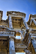 Ruins Metal Prints - Library of Celsus Metal Print by David Smith