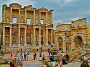 Library Digital Art - Library of Celsus in Ephesus-Turkey by Ruth Hager