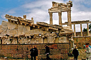 Library Digital Art - Library on the Pergamum Acropolis-Turkey by Ruth Hager
