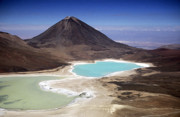 Bolivian Framed Prints - Licancabur volcano and Laguna Verde Framed Print by James Brunker