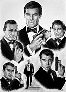 Films Drawings Framed Prints - Licence to kill  bw Framed Print by Andrew Read
