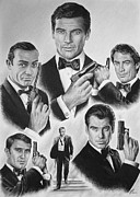 Movie Star Drawings Metal Prints - Licenced to kill  bw Metal Print by Andrew Read