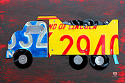 Usa Mixed Media - License Plate Art Dump Truck by Design Turnpike
