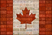 Canadian Mixed Media Prints - License Plate Art Flag of Canada Print by Design Turnpike