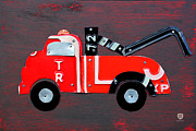 Kids Room Posters - License Plate Art Tow Truck Poster by Design Turnpike