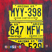 Grand Canyon State Prints - License Plate Map of Arizona by Design Turnpike Print by Design Turnpike