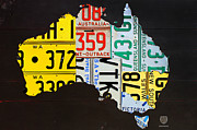 Australia Mixed Media Framed Prints - License Plate Map of Australia Framed Print by Design Turnpike