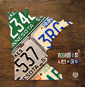 Metal Mixed Media Prints - License Plate Map of Minnesota by Design Turnpike Print by Design Turnpike