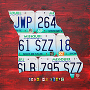 Transportation Mixed Media Metal Prints - License Plate Map of Missouri - Show Me State - by Design Turnpike Metal Print by Design Turnpike