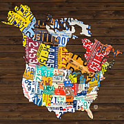 Canada Art Mixed Media Prints - License Plate Map of North America - Canada and United States Print by Design Turnpike
