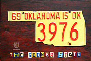 Oklahoma Mixed Media Framed Prints - License Plate Map of Oklahoma by Design Turnpike Framed Print by Design Turnpike