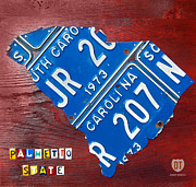 Road Travel Mixed Media Prints - License Plate Map of South Carolina by Design Turnpike Print by Design Turnpike