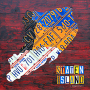 York Mixed Media Framed Prints - License Plate Map of Staten Island New York NYC Framed Print by Design Turnpike