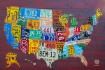 Vintage Mixed Media Metal Prints - License Plate Map of The United States Metal Print by Design Turnpike