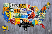 Highway Posters - License Plate Map of The United States - Muscle Car Era - On Silver Poster by Design Turnpike
