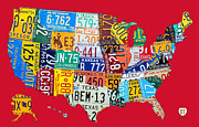 Travel Mixed Media Framed Prints - License Plate Map of The United States on Bright Red Framed Print by Design Turnpike