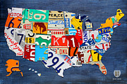 Transportation Mixed Media Metal Prints - License Plate Map of The United States - Small on Blue Metal Print by Design Turnpike