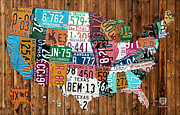 Road Travel Posters - License Plate Map of The United States - Warm Colors on Pine Board Poster by Design Turnpike