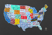 License Plate Posters - License Plate Map of the USA on Gray Poster by Design Turnpike