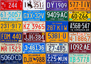 Vintage Map Mixed Media - License Plates of the USA - Our Colorful American History by Design Turnpike
