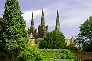England Framed Prints - Lichfield Cathedral from the Garden Framed Print by Rod Johnson
