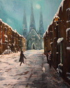 Staffordshire Bull Terrier Paintings - Lichfield Cathedral by Jean Walker