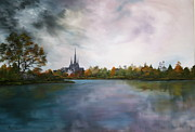 Normans Framed Prints - Lichfield Catherdral a view from Stowe Pool Framed Print by Jean Walker