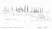 Boat Cruise Drawings Prints - Lido view Serenity Blue Mosque Print by Valerie Freeman