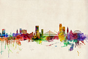 Urban Watercolour Prints - Liege Belgium Skyline Print by Michael Tompsett