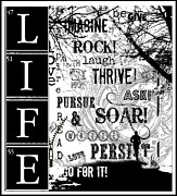 Stationery Licensing Posters - LIFE - Go For It - Inspirational Writing Poster by Anahi DeCanio