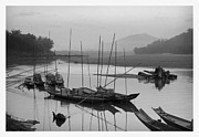 Sun And Tree Prints - life at Mae Khong river Print by Setsiri Silapasuwanchai