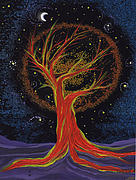 Mystical Landscape Mixed Media Posters - Life Blood Tree by jrr Poster by First Star Art