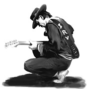 Stevie Ray Vaughan Collectibles Drawings - Life By The Drop  Stevie Ray Vaughan  by Iconic Images Art Gallery David Pucciarelli