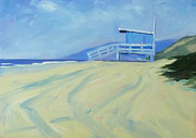 Santa Monica Paintings - Life Guard by Nancy Merkle
