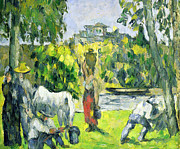 Farming Painting Prints - Life in the Fields Print by Paul Cezanne