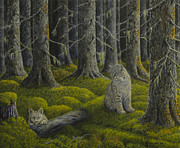 Bobcat Painting Prints - Life in the woodland Print by Veikko Suikkanen