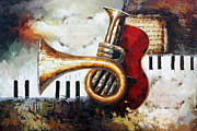 Piano Keys Painting Originals - Life is a Symphony by American Artist